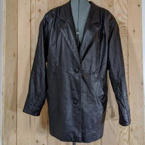 🐄Vintage Avanti Black Leather Button Up Jacket S